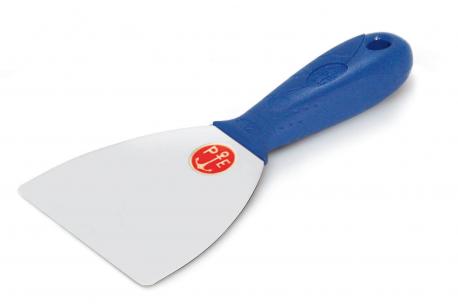 Couteau inox avec angles arrondis et manche en plastique pour stucs à la chaux