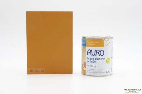 Laque couvrante satinée Aqua n°260 AURO - Teinte Ocre Jaune - Pot de 0.75L face
