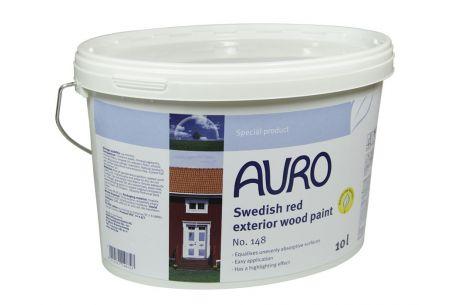 Rouge suédois AURO n°148 - Peinture pour façades en bois - Pot de 10L